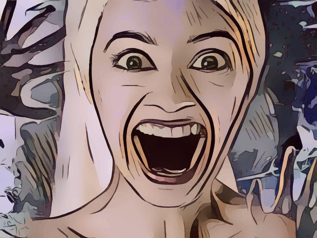 Frau in Angst und Schrecken